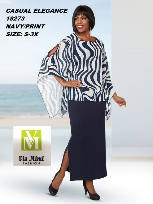 CASUAL ELEGANCE  STYLE #18273  2 PC  SET  COLOR: NAVY/PRINT  SIZE: S-3X  FOR MORE IMFORMATION AND PRICE PLEASE GIVE US A CALL   WE BEAT  ALL PRICES !!!!  VIA MIMI FASHION  1333 S. SANTEE ST.  LA,CA.90015  TEL: (213)748-MIMI (6464)  FAX: (213)749-MIMI (6464)  E-Mail: mimi@viamimifashion.com  http://viamimifashion.com  https://www.facebook.com/viamimifashion    https://www.instagram.com/viamimifashion  https://twitter.com/viamimifashion
