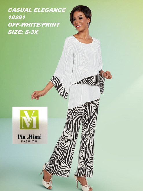 CASUAL ELEGANCE  STYLE #18281 -2 PC  SET  COLOR: OFF WHITE/PRINT  SIZE: S-3X  FOR MORE IMFORMATION AND PRICE PLEASE GIVE US A CALL   WE BEAT  ALL PRICES !!!!  VIA MIMI FASHION  1333 S. SANTEE ST.  LA,CA.90015  TEL: (213)748-MIMI (6464)  FAX: (213)749-MIMI (6464)  E-Mail: mimi@viamimifashion.com  http://viamimifashion.com  https://www.facebook.com/viamimifashion    https://www.instagram.com/viamimifashion  https://twitter.com/viamimifashion