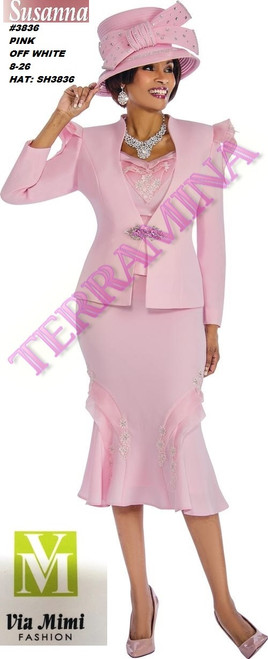 SUSANA STYLE #3836 - 3 PC SET  COLOR: PINK, OFF WHITE  SIZE: 8-26  HAT: SH3836   FOR MORE IMFORMATION AND PRICE PLEASE GIVE US A CALL   WE BEAT  ALL PRICES !!!!  VIA MIMI FASHION  1333 S. SANTEE ST.  LA,CA.90015  TEL: (213)748-MIMI (6464)  FAX: (213)749-MIMI (6464)  E-Mail: mimi@viamimifashion.com  http://viamimifashion.com  https://www.facebook.com/viamimifashion    https://www.instagram.com/viamimifashion  https://twitter.com/viamimifashion