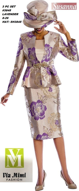 SUSANA STYLE #3845- 3 PC SET  COLOR: LAVENDER  SIZE: 8-26  HAT: SH3845  FOR MORE IMFORMATION AND PRICE PLEASE GIVE US A CALL   WE BEAT  ALL PRICES !!!!  VIA MIMI FASHION  1333 S. SANTEE ST.  LA,CA.90015  TEL: (213)748-MIMI (6464)  FAX: (213)749-MIMI (6464)  E-Mail: mimi@viamimifashion.com  http://viamimifashion.com  https://www.facebook.com/viamimifashion    https://www.instagram.com/viamimifashion  https://twitter.com/viamimifashion