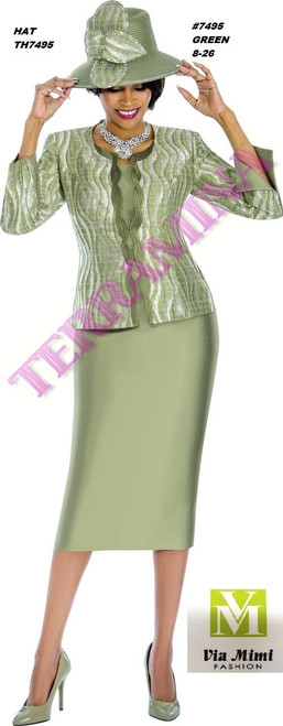 TERRAMINA #7495___ 3 PC SET  COLOR: GREEN  SIZE: 8-26  HAT: TH7495   FOR MORE IMFORMATION AND PRICE PLEASE GIVE US A CALL   WE BEAT  ALL PRICES !!!!  VIA MIMI FASHION  1333 S. SANTEE ST.  LA,CA.90015  TEL: (213)748-MIMI (6464)  FAX: (213)749-MIMI (6464)  E-Mail: mimi@viamimifashion.com  http://viamimifashion.com  https://www.facebook.com/viamimifashion    https://www.instagram.com/viamimifashion  https://twitter.com/viamimifashion