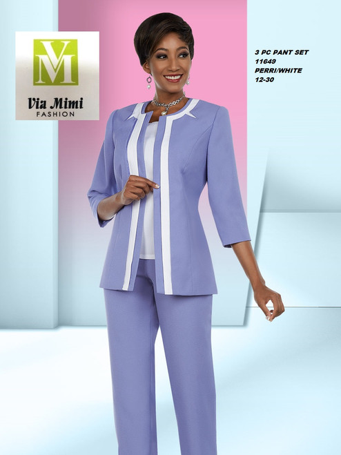 EXECUTIVE #11649___3 PC PANT SET  COLOR: PERRI/WHITE  SIZE: 12-30  FOR MORE IMFORMATION AND PRICE PLEASE GIVE US A CALL   WE BEAT  ALL PRICES !!!!  VIA MIMI FASHION  1333 S. SANTEE ST.  LA,CA.90015  TEL: (213)748-MIMI (6464)  FAX: (213)749-MIMI (6464)  E-Mail: mimi@viamimifashion.com  http://viamimifashion.com  https://www.facebook.com/viamimifashion    https://www.instagram.com/viamimifashion  https://twitter.com/viamimifashion