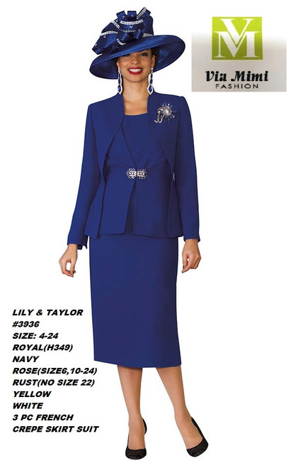 LILY & TAYLOR #3936 __  3 PC  SET  COLOR: ROYAL, NAVY,ROSE, RUST,YELLOW,WHITE  SIZE: 4-24  FRENCH CREPE FABRIC   FOR MORE IMFORMATION AND PRICE PLEASE GIVE US A CALL   WE BEAT  ALL PRICES !!!!  VIA MIMI FASHION  1333 S. SANTEE ST.  LA,CA.90015  TEL: (213)748-MIMI (6464)  FAX: (213)749-MIMI (6464)  E-Mail: mimi@viamimifashion.com  http://viamimifashion.com  https://www.facebook.com/viamimifashion    https://www.instagram.com/viamimifashion  https://twitter.com/viamimifashion