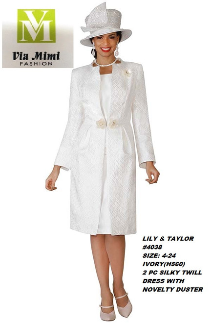 LILY & TAYLOR #4038__  2 PC  SILKY TWILL DRESS W NOVELTY DUSTER  COLOR: IVORY  HAT: H560   SIZE: 4-24  FOR MORE IMFORMATION AND PRICE PLEASE GIVE US A CALL   WE BEAT  ALL PRICES !!!!  VIA MIMI FASHION  1333 S. SANTEE ST.  LA,CA.90015  TEL: (213)748-MIMI (6464)  FAX: (213)749-MIMI (6464)  E-Mail: mimi@viamimifashion.com  http://viamimifashion.com  https://www.facebook.com/viamimifashion    https://www.instagram.com/viamimifashion  https://twitter.com/viamimifashion