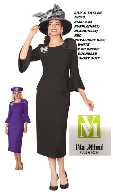 LILY & TAYLOR #4010__ 2 PC CREPE/ DUCHESSE SUIT  COLOR: PURPLE(H563), BLACK(H554), RED, WHITE, ROYAL (SIZE 8-22)  SIZE: 4-24  FOR MORE IMFORMATION AND PRICE PLEASE GIVE US A CALL   WE BEAT  ALL PRICES !!!!  VIA MIMI FASHION  1333 S. SANTEE ST.  LA,CA.90015  TEL: (213)748-MIMI (6464)  FAX: (213)749-MIMI (6464)  E-Mail: mimi@viamimifashion.com  http://viamimifashion.com  https://www.facebook.com/viamimifashion    https://www.instagram.com/viamimifashion  https://twitter.com/viamimifashion
