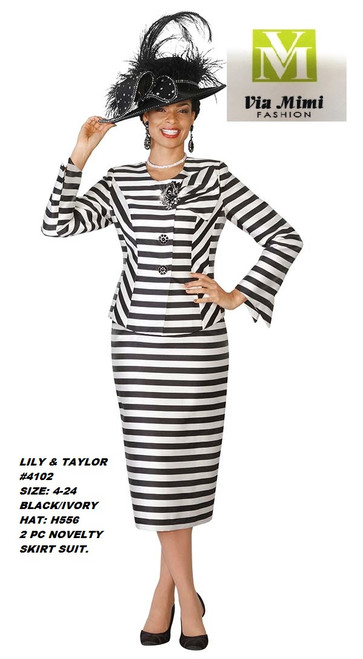 LILY & TAYLOR #4102__ 2 PC NOVELTY SUIT  COLOR: BLACK/IVORY(H556)  SIZE: 4-24  FOR MORE IMFORMATION AND PRICE PLEASE GIVE US A CALL   WE BEAT  ALL PRICES !!!!  VIA MIMI FASHION  1333 S. SANTEE ST.  LA,CA.90015  TEL: (213)748-MIMI (6464)  FAX: (213)749-MIMI (6464)  E-Mail: mimi@viamimifashion.com  http://viamimifashion.com  https://www.facebook.com/viamimifashion    https://www.instagram.com/viamimifashion  https://twitter.com/viamimifashion