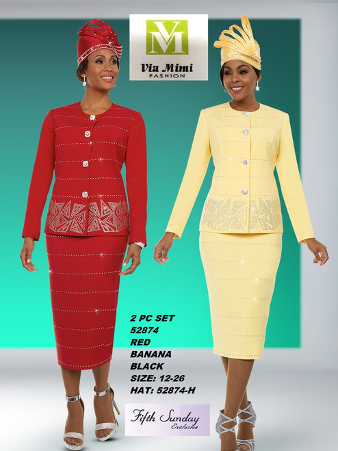 FIFTH SUNDAY #52874__ 2 PC SET  COLOR: BANANA , RED, BLACK  SIZE : 12-26  HAT: 52874-H  FOR MORE IMFORMATION AND PRICE PLEASE GIVE US A CALL   WE BEAT  ALL PRICES !!!!  VIA MIMI FASHION  1333 S. SANTEE ST.  LA,CA.90015  TEL: (213)748-MIMI (6464)  FAX: (213)749-MIMI (6464)  E-Mail: mimi@viamimifashion.com  http://viamimifashion.com  https://www.facebook.com/viamimifashion    https://www.instagram.com/viamimifashion  https://twitter.com/viamimifashion