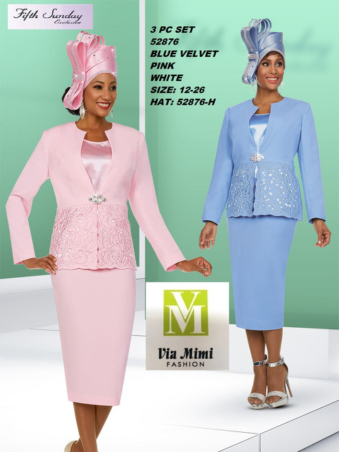 FIFTH SUNDAY #52876__ 3 PC SET  COLOR: BLUE VLVET, PINK, WHITE  SIZE: 12-26  HAT: 52876-H  FOR MORE IMFORMATION AND PRICE PLEASE GIVE US A CALL   WE BEAT  ALL PRICES !!!!  VIA MIMI FASHION  1333 S. SANTEE ST.  LA,CA.90015  TEL: (213)748-MIMI (6464)  FAX: (213)749-MIMI (6464)  E-Mail: mimi@viamimifashion.com  http://viamimifashion.com  https://www.facebook.com/viamimifashion    https://www.instagram.com/viamimifashion  https://twitter.com/viamimifashion
