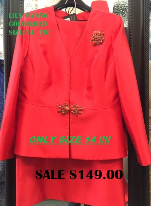 LILY TAYLOR #2856 RED SIZE 14 ONLY !!!  FOR MORE IMFORMATION AND PRICE PLEASE GIVE US A CALL   WE BEAT  ALL PRICES !!!!  VIA MIMI FASHION  1333 S. SANTEE ST.  LA,CA.90015  TEL: (213)748-MIMI (6464)  FAX: (213)749-MIMI (6464)  E-Mail: mimi@viamimifashion.com  http://viamimifashion.com  https://www.facebook.com/viamimifashion    https://www.instagram.com/viamimifashion  https://twitter.com/viamimifashion