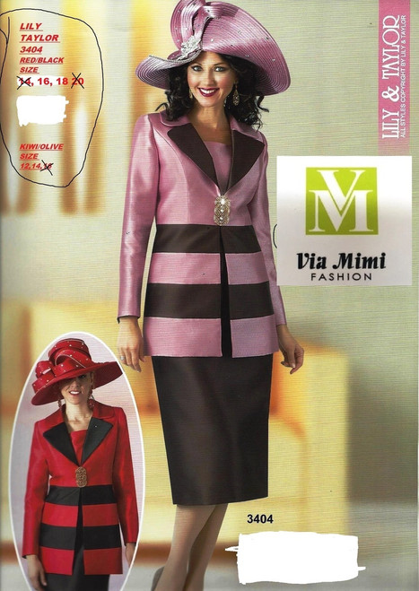LILY TAYLOR #3404 RED/BLACK 16-18, KIWI/OLIVE 12-14 !!!  FOR MORE IMFORMATION AND PRICE PLEASE GIVE US A CALL   WE BEAT  ALL PRICES !!!!  VIA MIMI FASHION  1333 S. SANTEE ST.  LA,CA.90015  TEL: (213)748-MIMI (6464)  FAX: (213)749-MIMI (6464)  E-Mail: mimi@viamimifashion.com  http://viamimifashion.com  https://www.facebook.com/viamimifashion    https://www.instagram.com/viamimifashion  https://twitter.com/viamimifashion
