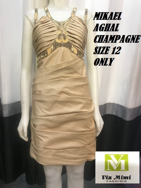 MIKAEL AGHAL CHAMPAGNE SIZE 12  ONLY !!!  FOR MORE IMFORMATION AND PRICE PLEASE GIVE US A CALL   WE BEAT  ALL PRICES !!!!  VIA MIMI FASHION  1333 S. SANTEE ST.  LA,CA.90015  TEL: (213)748-MIMI (6464)  FAX: (213)749-MIMI (6464)  E-Mail: mimi@viamimifashion.com  http://viamimifashion.com  https://www.facebook.com/viamimifashion    https://www.instagram.com/viamimifashion  https://twitter.com/viamimifashion