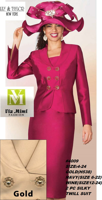 LILY TAYLOR STYLE #4009 /2 PC SILKY TWILL SUIT !!  COLOR: GOLD(H538) , NAVY(SIZE 6-22) , WINE (SIZE 12-24)  SIZE: 4-24  FOR PRICE AND MORE IMFORMATION  PLEASE GIVE US A CALL   WE BEAT  ALL PRICES !!!!  VIA MIMI FASHION  1333 S. SANTEE ST.  LA,CA.90015  TEL: (213)748-MIMI (6464)  FAX: (213)749-MIMI (6464)  E-Mail: mimi@viamimifashion.com  http://viamimifashion.com  https://www.facebook.com/viamimifashion    https://www.instagram.com/viamimifashion  https://twitter.com/viamimifashion