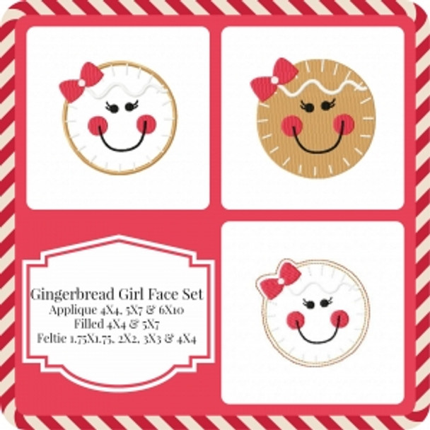 Gingerbread Girl Face Machine Embroidery Design Set
