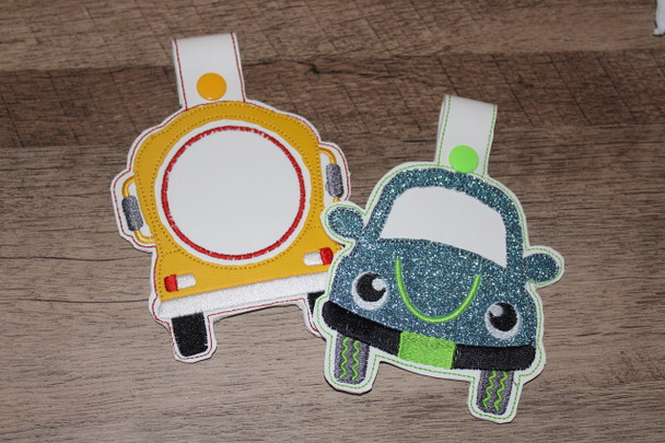 Car Rider or Bus Rider Backpack Tabs ITH Machine Embroidery Designs