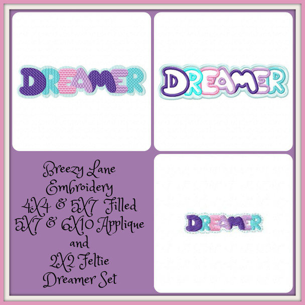Dreamer 4X4 & 5X7 Filled 5X7 & 6X10 Applique and 2X2 Sorted Feltie Machine Embroidery Design Free