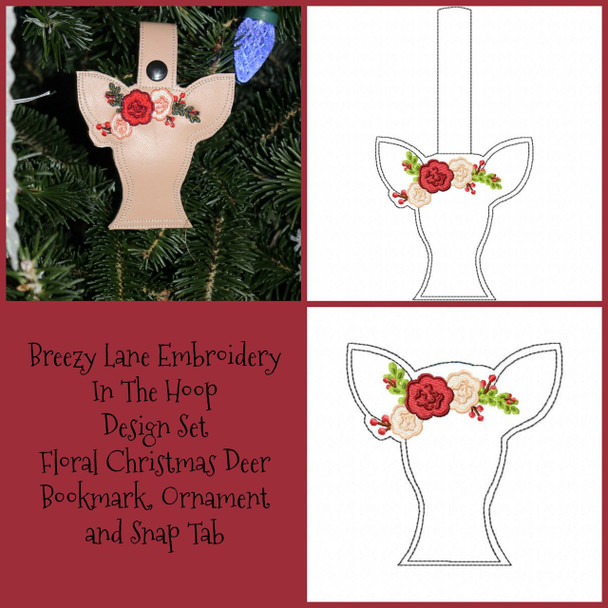 Floral Christmas Deer In the Hoop Set, Bookmark, Ornament and Snap Tab 5X7 and 4X4