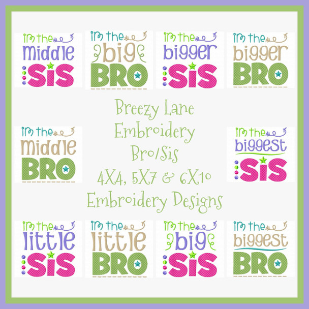 Brother & Sister Complete WORD ART Set MACHINE EMBROIDERY DESIGN 4X4, 5X7 & 6X10
