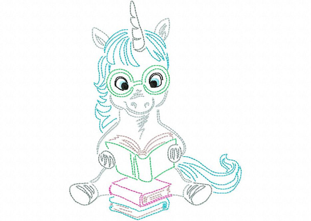 Reading Unicorn (4)  Line Art Book Pillow MACHINE EMBROIDERY DESIGN 4X4, 5X7 & 6X10