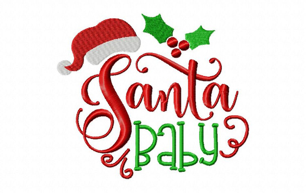Santa Baby Christmas Machine Embroidery Word Art Design 4X4, 5X7 & 6X10