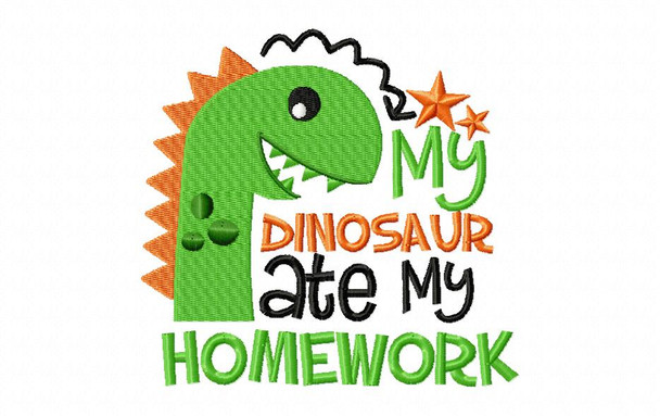 DInosaur Ate My Homework Back to School Machine Embroidery Design 4X4, 5X7 & 6X10