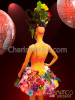 CHARISMATICO Carnival inspired flower and frond covered dress with matching headpiece