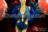 CHARISMATICO Deep blue Showgirl's beaded leotard and matching feather backpack set