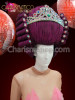 CHARISMATICO Barque Styled Purple Drag Queen Wig Headdress with Crystal Accents