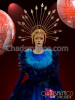 CHARISMATICO  Royal Blue satin period Drag Queen gown with marabou accents