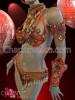 CHARISMATICO Beaded Orange, purple, and white carnival bra set and headdress