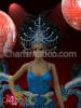 CHARISMATICO Blue Cabaret Costume sequin mini-dress, feathered belt, and headdress set