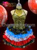 Black, Blue, White, and Red ruffled Gold accented Sissy Dress