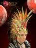 CHARISMATICO Diva Drag Queen Golden glitter Mohawk inspired Red feather headdress