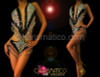Black and silver Showgril sequin o-ring diva leotard with beaded fringe