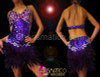 Crystal cupped dark purple sequined Diva dress with feathered skirt