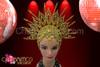 Beaded star-burst golden open work cap headdress with amber crystals