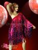 CHARISMATICO Asymmetrical fuchsia and purple sequin fringe Diva's Drag Queen Dress