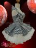 Asymmetrical Black and white Chess check vinyl Gothic Dollie Dress