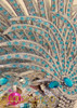 """Beaded Silver glitter """"lionfish"""" headdress with sky blue crystal accents"""