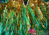 CHARISMATICO Beaded gold sequin dance leotard with green bead fringe bottoms