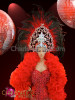 CHARISMATICO Beaded red showgirl's boyshort leotard, ruffled boa, and headdress set