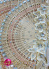 CHARISMATICO Chinese wooden fan headdress with peach appliqué and crystal accents