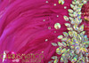 CHARISMATICO Delicate Iridescent Silver Beaded Vivid Intense Fuchsia Feather Backpack Collar