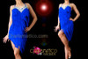 CHARISMATICO Crystal Embellished Royal Blue Fringe Halter Style Latin Dance Dress