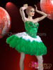 CHARISMATICO Crystal Accented Green Sequin Corset and Matching Green Feather Skirt