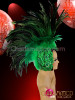 CHARISMATICO Appliqué Accented Cap-Style Diva's Two Toned Green Feather Mohawk Headdress