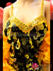 CHARISMATICO Black and Gold Jumbo Sequin Pageant Gown With Marigold Boa