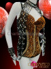 CHARISMATICO Coppery Gold Sequin Accented Black Leotard With Coordinating Cuff Necklace
