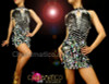 CHARISMATICO Diamond Patterned Silver Sequin Diva Keyhole Style Latin Dance Dress