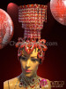 CHARISMATICO Crystal Accented Ruby Red Chandelier Styled Beaded Burlesque Showgirl's Headdress