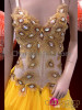 CHARISMATICO Diva Crystal Accented Sunny Yellow Organza and Gold Peacock Dress